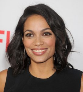 """LOS ANGELES, CA - APRIL 02: Actress Rosario Dawson arrives at the premiere Of Netflix's """"Marvel's Daredevil"""" at Regal Cinemas L.A. Live on April 2, 2015 in Los Angeles, California. (Photo by Gregg DeGuire/Getty Images)"""